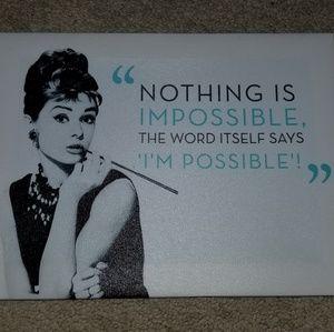 Audrey Hepburn Quote Wall Hanging  Decoration